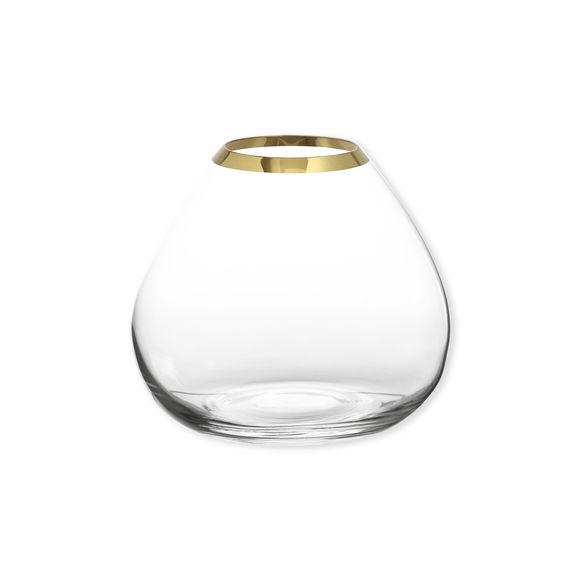 Vase en verre transparent bord or 18cm