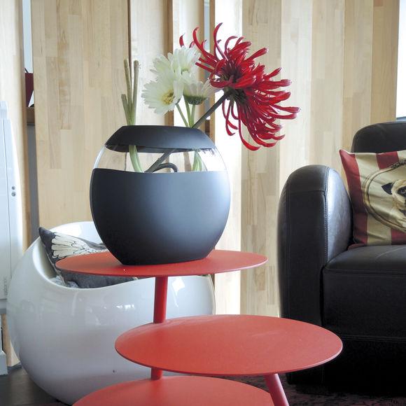 grand vase design en verre satin noir souffl bouche bruno evrard. Black Bedroom Furniture Sets. Home Design Ideas