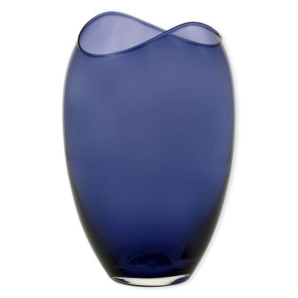 Vase en verre transparent bleu marine 25,5cm