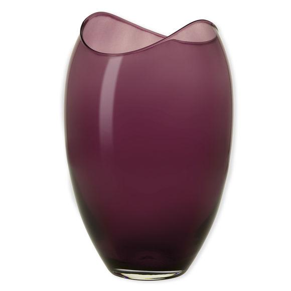 Vase en verre transparent bordeaux 25,5cm