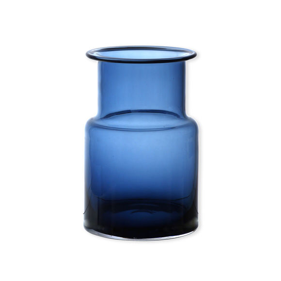 Vase bleu marine en verre soufflé bouche 20cm