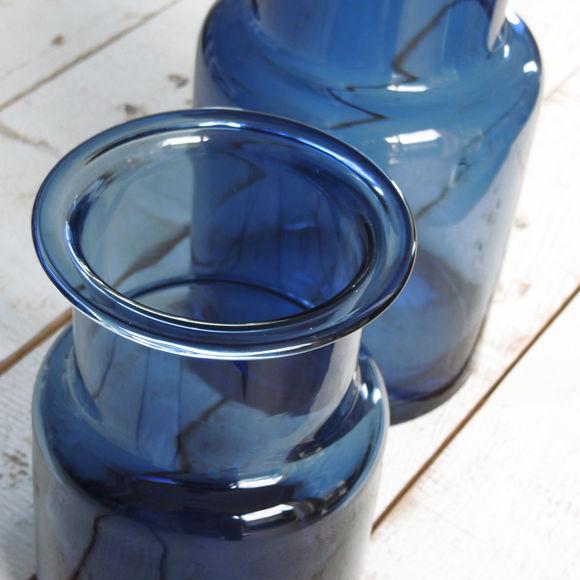 vase design en verre bleu marine 20cm objets d co. Black Bedroom Furniture Sets. Home Design Ideas