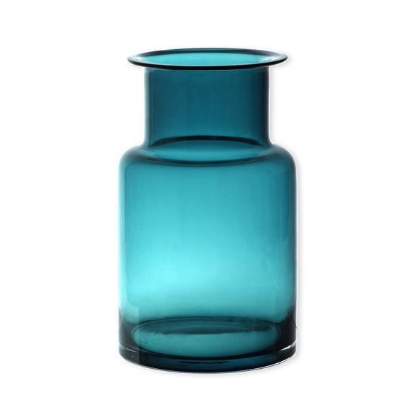 Vase bleu turquoise en verre soufflé bouche 25cm