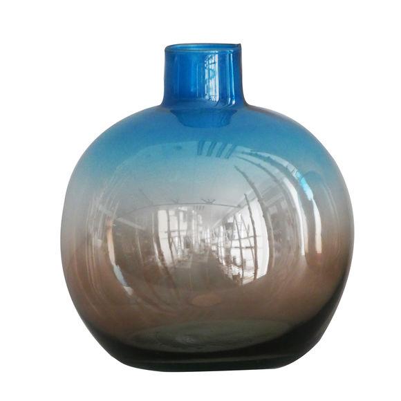 Vase en verre recyclé bleu/taupe 35cm