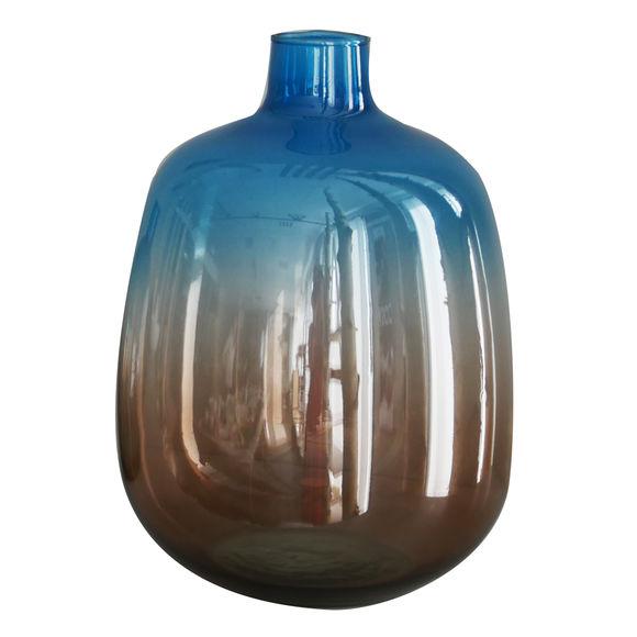 Vase en verre recyclé bleu/taupe 33cm