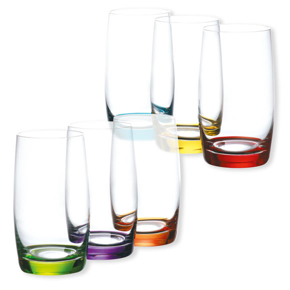 Verres à eau couleurs assorties 38cl - Lot de 6