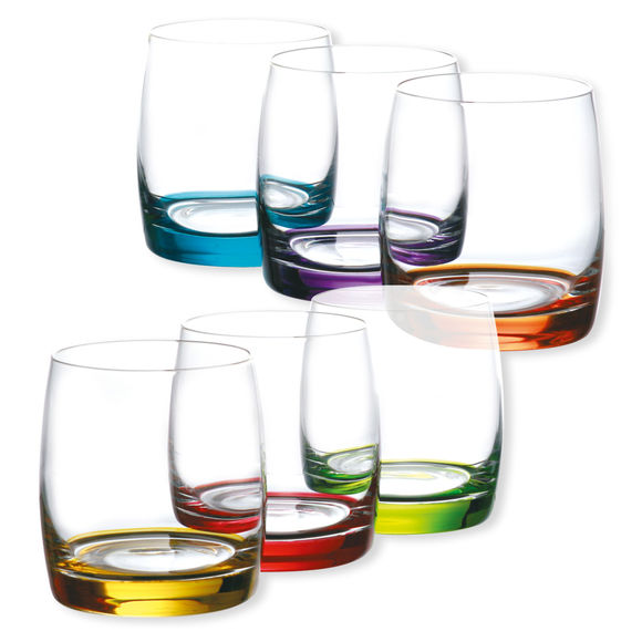 Verres à eau couleurs assorties 29cl - Lot de 6