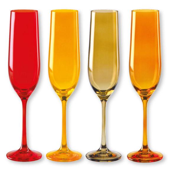 Flûtes à champagne en verre jaune 19cl - Lot de 4