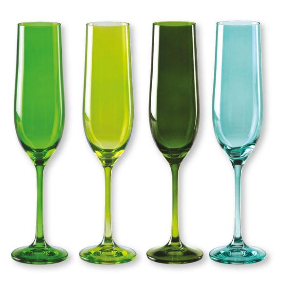 Flûtes à champagne en verre vert 19cl - Lot de 4