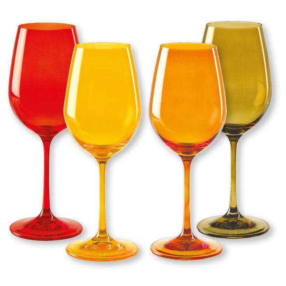 Verres à vin en verre jaune 35cl - Lot de 4
