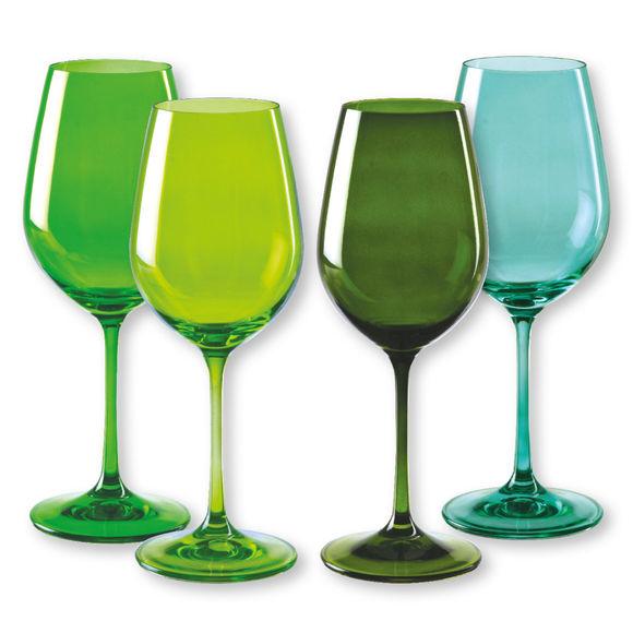 KADOR VERT Boite de 4 verres à vin couleurs assorties