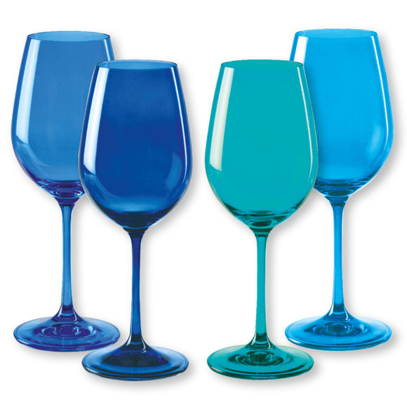 Verres à vin en verre bleu 35cl - Lot de 4