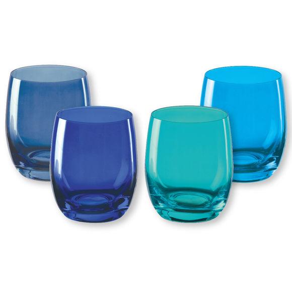 Gobelets bas en verre bleu 30cl - Lot de 4