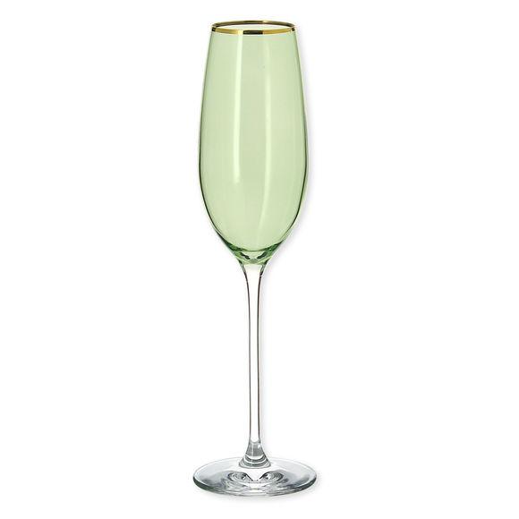 Flûte à champagne en verre vert 22cl