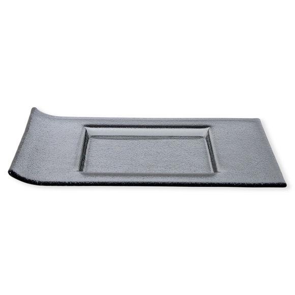 Plat carré en verre gris 30x23cm