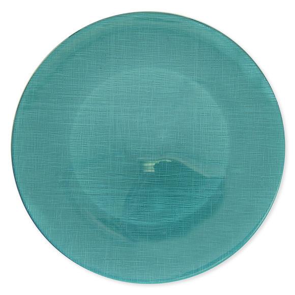 Assiette de présentation en verre turquoise 33cm