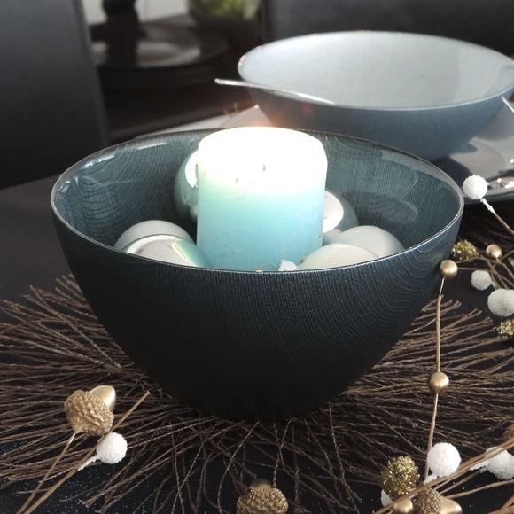 grand saladier en verre de couleur bleu canard vaisselle tendance. Black Bedroom Furniture Sets. Home Design Ideas