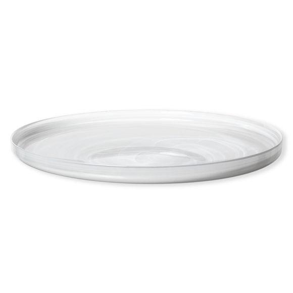 Coupe décorative plate en verre blanc 40cm