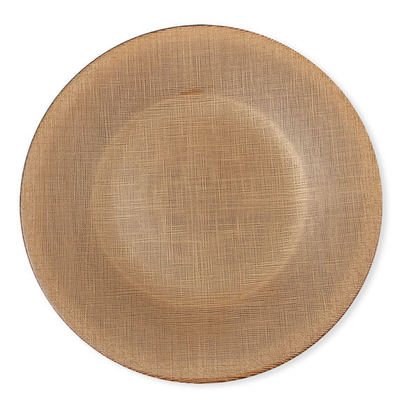 Assiette plate en verre orange 28cm