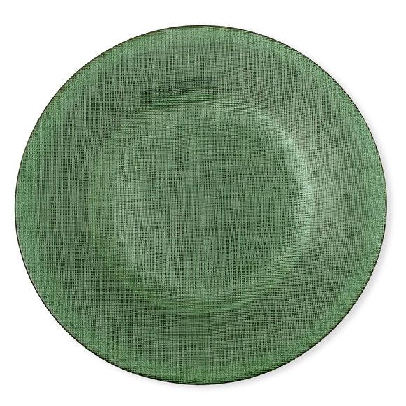 Assiette plate en verre vert 28cm