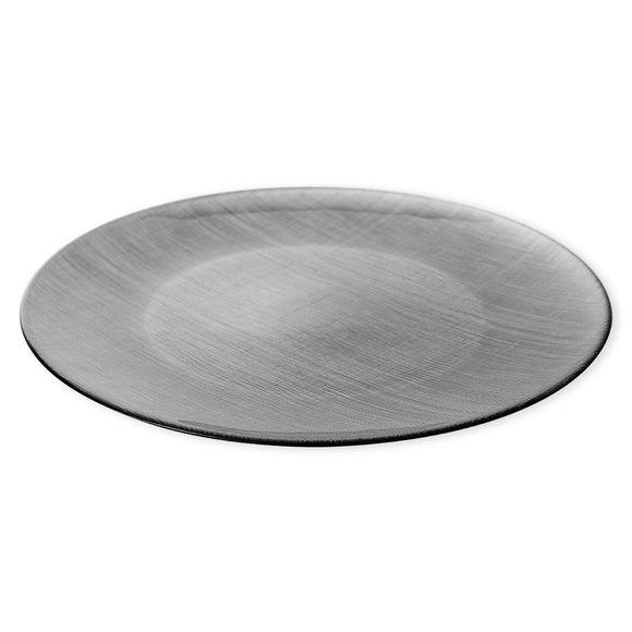 Assiette de présentation en verre gris 33cm