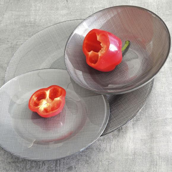 assiette dessert design en verre color gris 21cm. Black Bedroom Furniture Sets. Home Design Ideas