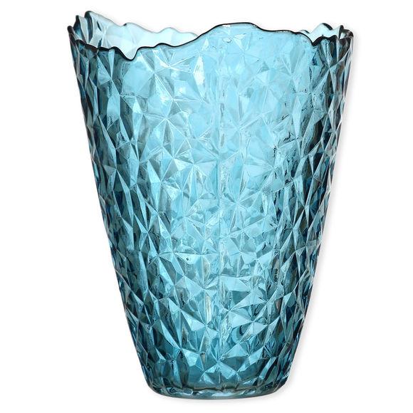 Vase en verre bleu canard à relief 29cm