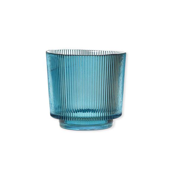 Photophore en verre bleu canard à relief 14cm