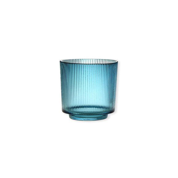 Photophore en verre bleu canard à relief 10cm - Lot de 2