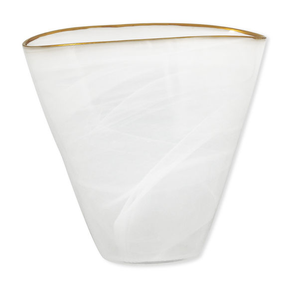 Vase blanc en verre filet or 23cm