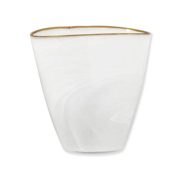 Vase blanc en verre filet or 19cm