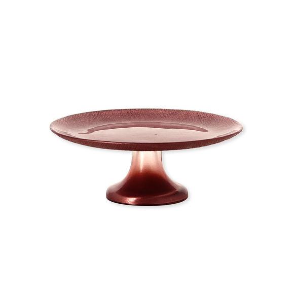 Plat à gâteaux sur pied en verre rose 21cm