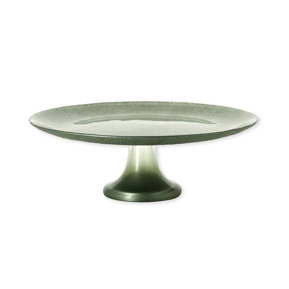 Plat à gâteaux sur pied en verre vert 28cm