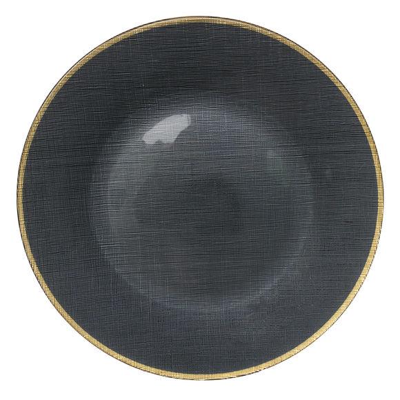 Assiette de présentation en verre gris/or 33cm
