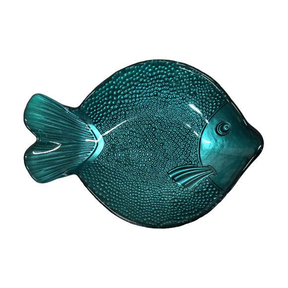 Plat creux poisson en verre bleu 27,5x21cm