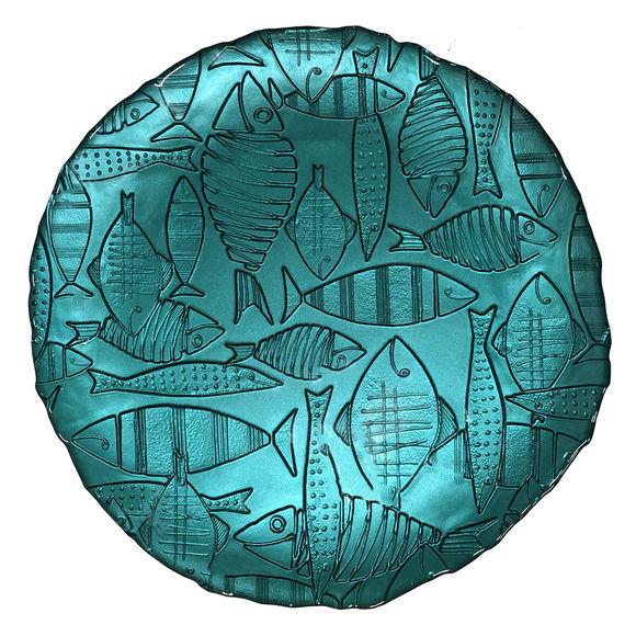 Plat rond poisson en verre bleu 32cm