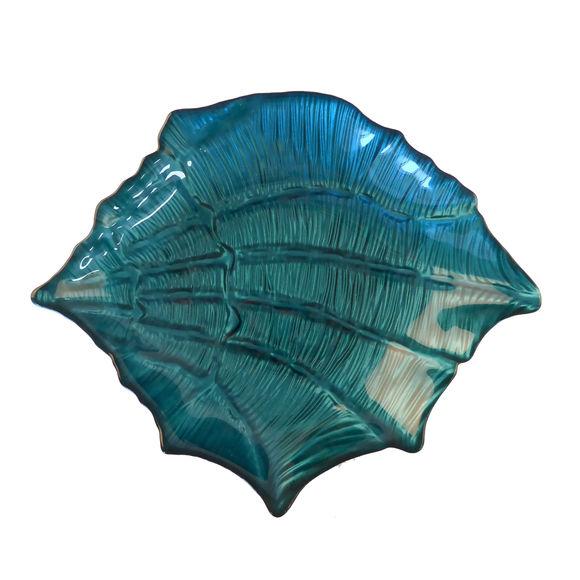 Plat creux coquillage en verre bleu 29x23cm