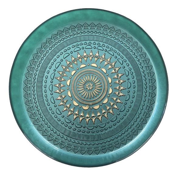 Plat de service turquoise en verre 32cm