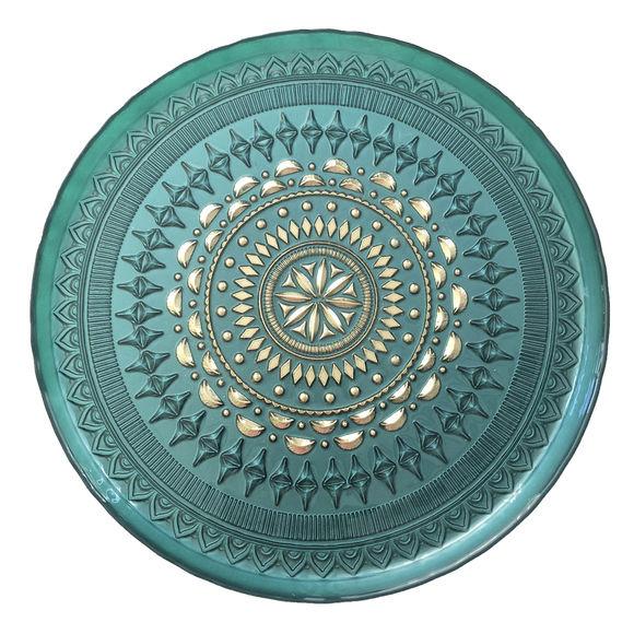Plateau turquoise en verre 35cm