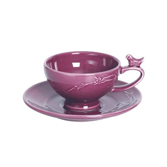 Tasse à café rose en faïence 20cl