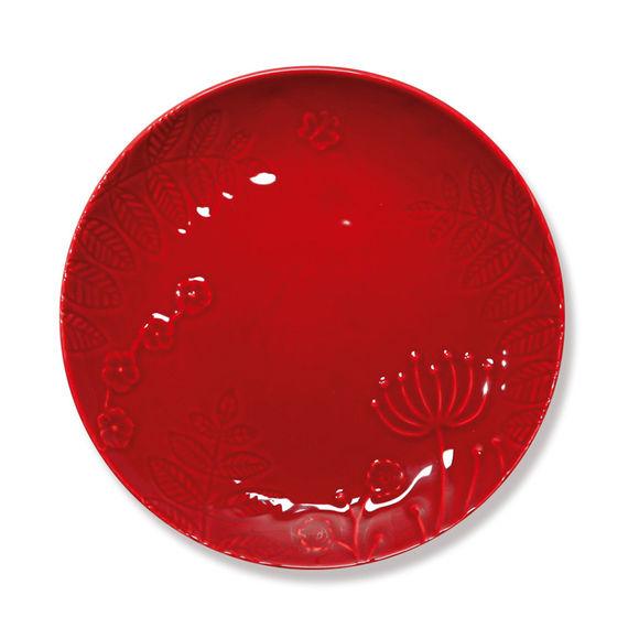 Assiette dessert rouge en faïence 23cm