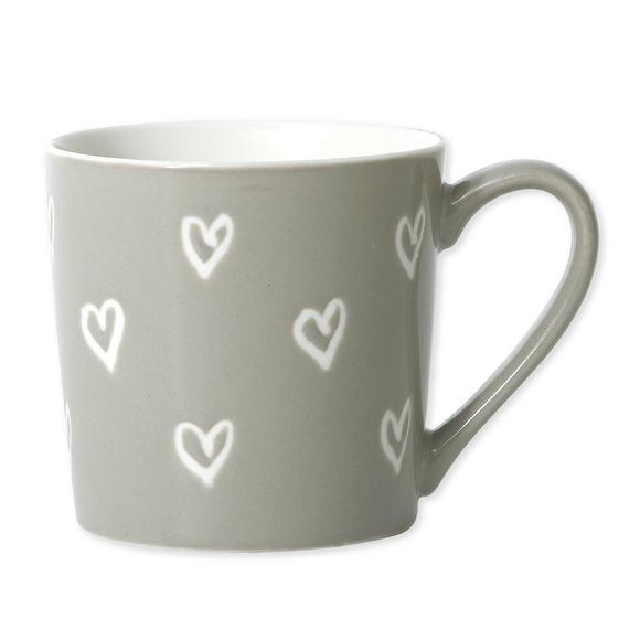 Mug gris en porcelaine décor coeur 35cl