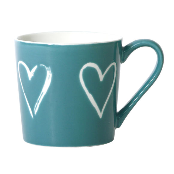 Mug turquoise en porcelaine décor coeur 35cl