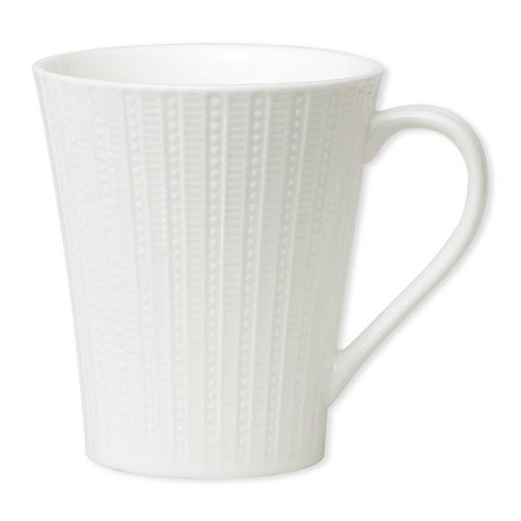Mug blanc en porcelaine motifs lignes 25cl