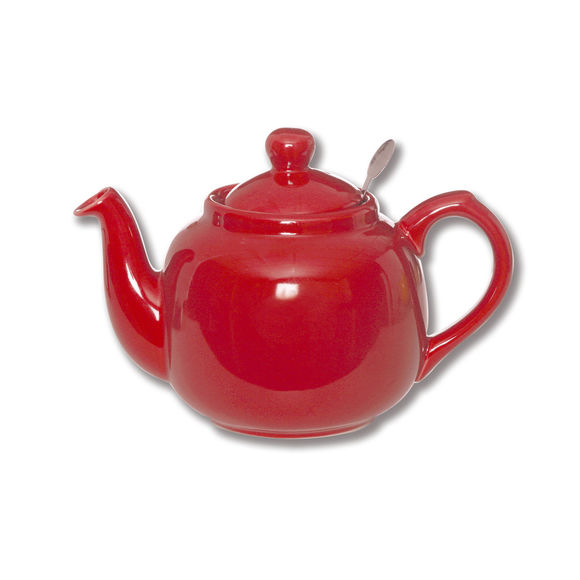 Théière en faïence avec filtre inox 1,1L rouge