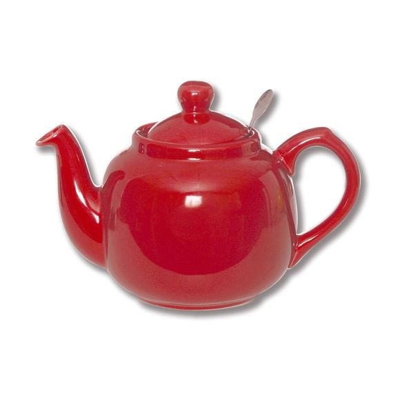 Théière en faïence avec filtre inox 1,5L rouge