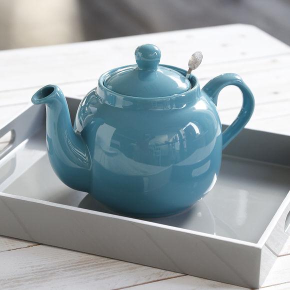 Théière bleue en faïence 1,5L - Design anglais - Bruno Evrard
