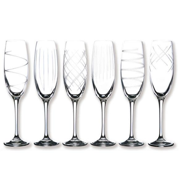 Flûtes à champagne taillées 18cl - Coffret de 6