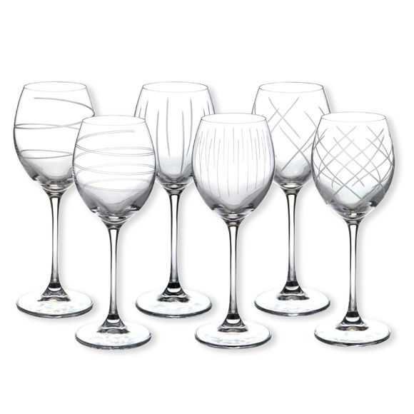 Verres à vin taillé motifs assortis 25cl - Coffret de 6