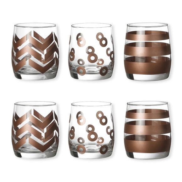 Gobelets bas motifs assortis couleur cuivre 25cl - Lot de 6